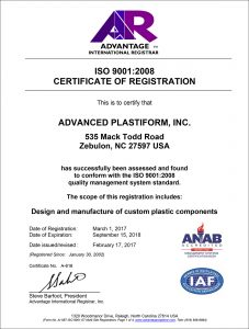 Advanced Plastiform, Inc ISO 9001: 2008 Part 1