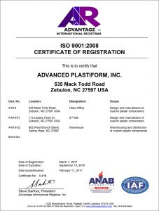 Advanced Plastiform, Inc ISO 9001: 2008 Part 2