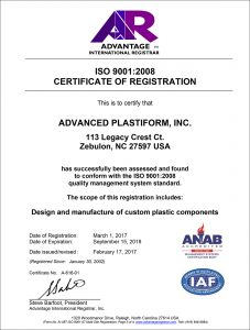 Advanced Plastiform, Inc ISO 9001: 2008 Part 3
