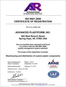Advanced Plastiform, Inc ISO 9001: 2008 Part 4