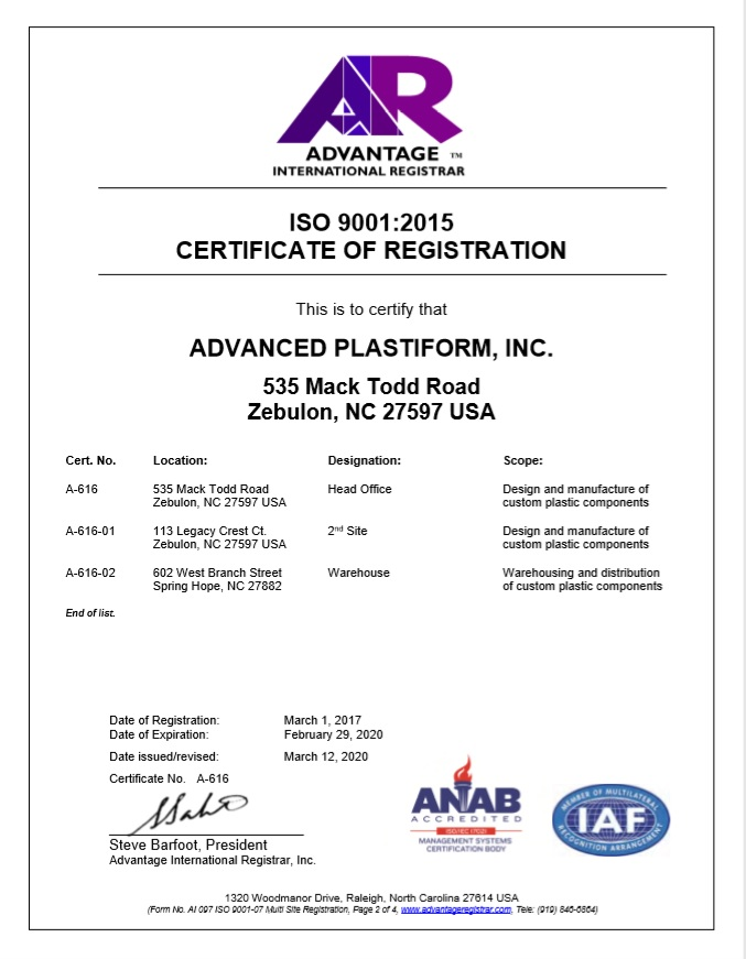 Advanced Plastiform, Inc ISO 9001: 2015 Part 2