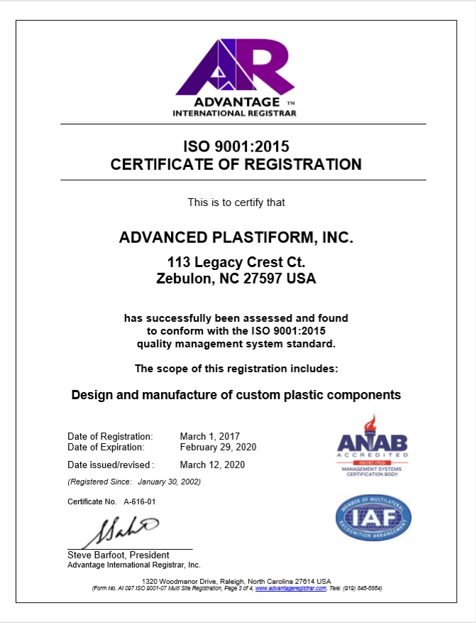 Advanced Plastiform, Inc ISO 9001: 2015 Part 3