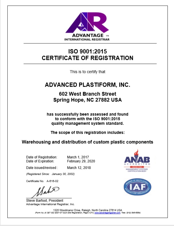 Advanced Plastiform, Inc ISO 9001: 2015 Part 4